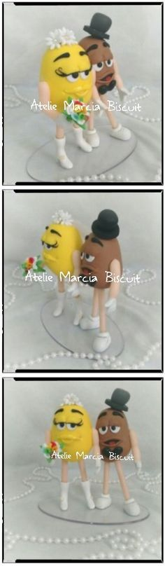 Topo de bolo noivos em biscuit  estilizados em personagens MMs.. Amei fazer!!! zap 21/98069-2916