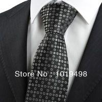 free shipping 5pcs Black Grey Polka Dot Circle Pattern Mricrofiber JACQUARD WOVEN Men's Tie Necktie, Width 8.5cm can mix order