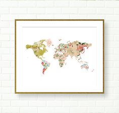 Large floral world map poster world map print 16x20 and 11x14 printable worl map baby girl nursery prints digital download world map poster flora botanical patchwork retro vintage printable gumiabroncs Gallery