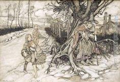 Children startled by a Witch by Arthur Rackham