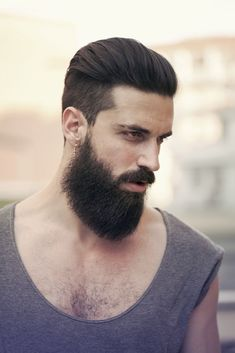 Slicked Back Hair for Men. Beautiful Slicked Back Hair for Men - Timeless Short to Long Of the Past. Slick Back Hair 5 Ways to Get the Look Hair And Beard Styles, Short Hair Styles, Slicked Back Hair, Beard Love, Full Beard, Great Beards, Beard Tattoo, Beard No Mustache, Haircuts For Men