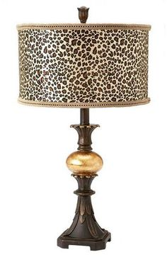 Gold Ball Table Lamp with Animal Print Shade