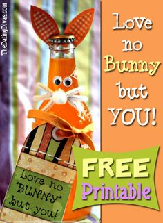 Surprise a loved one with this sweet Easter treat. Turn their favorite soda bottle into a bunny and attach the FREE printable.. www.TheDatingDivas.com #Easter #freeprintable #datingdivas