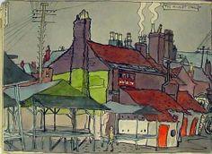 Albert Wainwright - A selection from the Castleford Notebook 1928 > Sketchbook Gallery Sketchbook Gallery Castleford Market Stalls Henry Moore, Wakefield, Leeds, Illustrators, Gallery, Market Stalls, Painting, Yorkshire, Stationery