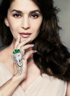 madhuri-dixit-emeralds-for elephants-campaign. I love you Madhuri Dixit but I also fell In love with your ring Madhuri Dixit, Elephant Ring, Elephant Jewelry, Pearl Necklace Designs, Hand Accessories, Bollywood Jewelry, Glitter Girl, Indian Wedding Jewelry, Southwestern Jewelry