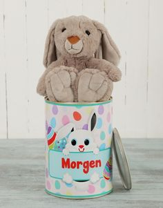 Personalised Blue Easter Bunny Tin Pink Happy Birthday, Happy Birthday Candles, Happy Birthday Balloons, Teddy Bear Gifts, Lucky To Have You, Easter Flowers, Tears Of Joy, Helium Balloons, Happy Anniversary