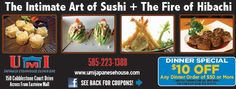 Umi Japanese Sushi and Hibachi Bar offering dinner and hibachi coupons! We cater too. Fresh, hand-rolled sushi and hibachi dinners. Bring your party to the hibachi table! Save on your order now! www.umijapanesehouse.com