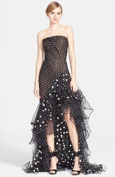 Oscar de la Renta Polka Dot Ruffled High/Low Tulle Gown