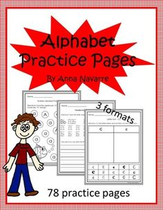 This alphabet packet includes three different types of practice pages (78 pages ) to provide students with a resource for recognizing and writing letters.