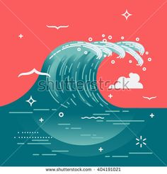 Lovely vector background on large ocean breaking wave. Sea water background in…