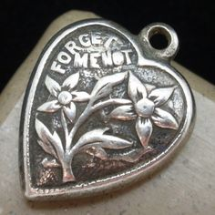Puffy Heart Charm Vintage Sterling Silver Forget Me Not