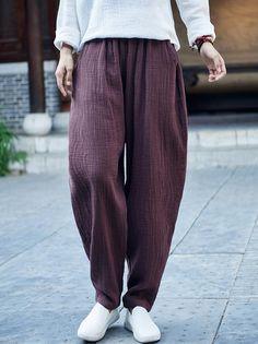 Comfortable Coffee&Black Ramie Cotton Casual Pants