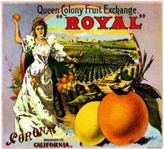 Corona Ca, Royal Brand fruit crate label