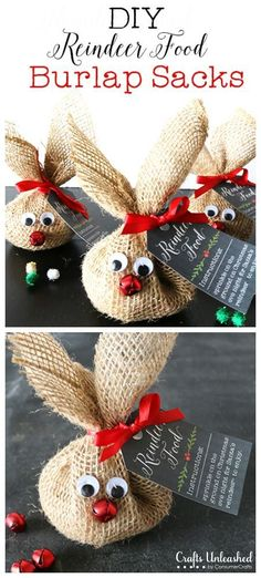 DIY Reindeer Food Burlap Sacks (hersheys kisses, or m&ms, would be fun, too)