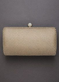 """Jessica McClintock Ball Mesh Minaudiere.  Ball mesh minaudiere framed with polished hardware.  Available in Gold Metallic and Silver Metallic.  Frame lock closure.  Dimensions: 6 1/2"""" x 3 1/2"""".  Drop chain.  Fully lined. Imported. $39.50"""