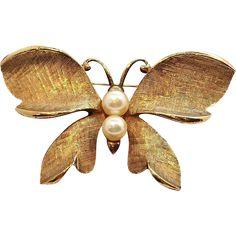 Capri Butterfly Brooch  Brushed Goldtone Metal with Genuine Pearls. https://www.rubylane.com/shop/elainesjewelry