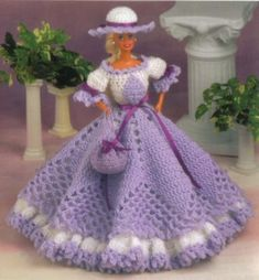 free crochet doll dresses | Fashion Doll Collection Crochet Pattern Barbie Dress Furniture Clothes