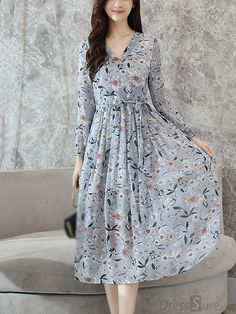 c279a3093f2 Buy Elegant V-Neck Long Sleeve Print Skater Dress at DressSure.com
