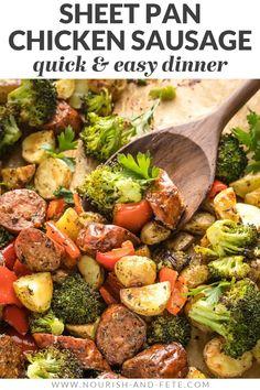 Healthy Meal Prep, Easy Healthy Dinners, Healthy Dinner Recipes, Healthy Eating, Cooking Recipes, Healthy Recipes With Chicken, Healthy Sausage Recipes, Healthy Food, Clean Eating