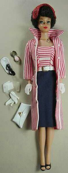 """Vintage Barbie Roman Holiday #968 (1959)Cruise Stripes DressWhite BeltRed & White CoatRed Straw HatPearl Drop NecklaceShort White GlovesWhite Vinyl Clutch Purse White CaseBrass Compact This is one of the three ensembles made only in 1959 and is therefore very rare. It included a tiny brass compact - one of the """"holy grails"""" of Vintage Barbie collecting."""