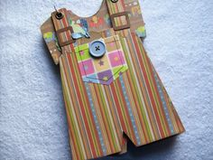 Scrapbook Chipboard Mini Album Baby Boy Overalls by ljbminis2021, $16.99