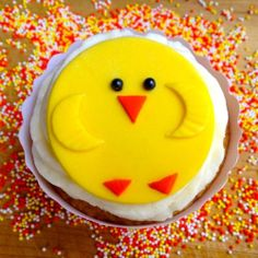 Cute little Easter Chick. Set of 12 (one dozen) Fondant Cupcake, Cake, Cookie Toppers.