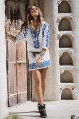 Spell Designs Santorini Embroidered Tunic Dress