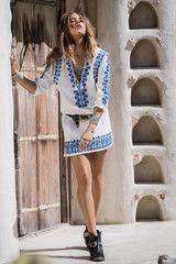 Spell Designs Santorini Embroidered Tunic Dress