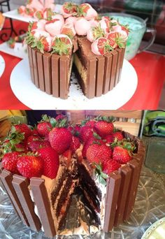 Chocolate Strawberry Kit Kat Cake: a moist chocolate cake with layers of heavy cream stuffed with strawberries and lined with Kit Kat bars! Just Desserts, Delicious Desserts, Yummy Food, Food Cakes, Cupcake Cakes, Strawberry Kit Kat, Strawberry Cakes, Yummy Treats, Sweet Treats
