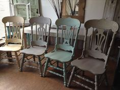 Mismatched dining chairs painted in Superior Paint Co. chalk furniture paints