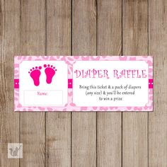 INSTANT DOWNLOAD Leopard Pink Diaper Baby Shower Tickets - Jungle Safari Raffle Tickets Baby Shower Games Party Favors Party Items Baby Shower Diapers, Baby Boy Shower, Baby Shower Party Games, Pack Of Diapers, Raffle Tickets, Jungle Safari, Party Items, Baby Prints, Babyshower