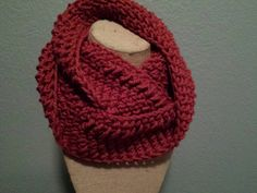 Dark red infinity scarf / cowl ready to go by PDTDesigns on Etsy