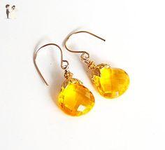 AAA Yellow Quartz Dangle Drop Earrings- Wedding Jewelry- Bridal Accessories-Mother's Day- Spring Earrings - Wedding earings (*Amazon Partner-Link)
