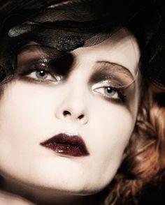 Glossy, shimmery, dreamy, avant-garde makeup. Galliano runway look.