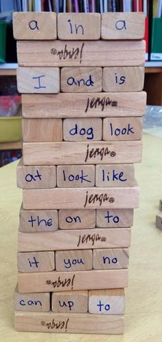 Take a used jenga game and write sight words on each end (you could even do the sides!). Students have to be able to read the sight word before they can push/pull out the block.
