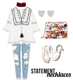 """Untitled #65"" by emmatraynor on Polyvore featuring Topshop, Talitha, Gucci, Paloma Barceló, New Look and statementnecklaces"