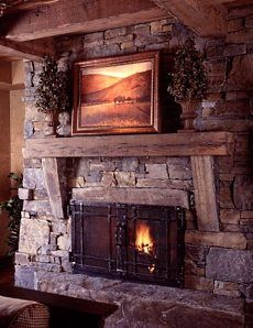 Rustic fireplaces and Rustic stone