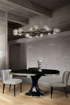All you need for a modern and elegant dining room decor is the PLATEAU II Dining Table, the HORUS Glass Suspension Light and the DALYAN Dining Chairs.