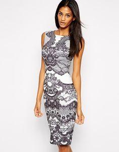 Lipsy Lace Print Bodycon Dress in Scuba