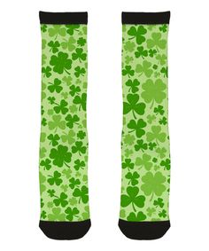 Look at this Festuvius Green Shamrock Sublimated Crew Socks - Toddler & Kids on #zulily today!