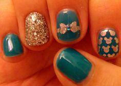 Teal Disney nail art, Loooove this Shellac, Nails Opi, Nail Manicure, Disney Nail Designs, Cute Nail Designs, Nail Swag, Fancy Nails, Love Nails, Disney Nails