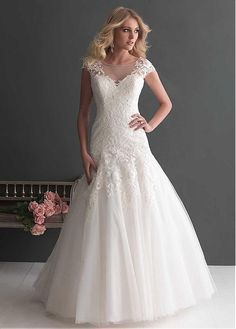 STUNNING TULLE TRUMPET BATEAU NECKLINE NATURAL WAISTLINE WEDDING DRESS IVORY WHITE LACE BRIDAL GOWN