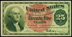 United States Fractional currency 25 Cents Washington note 1863 Fourth Issue