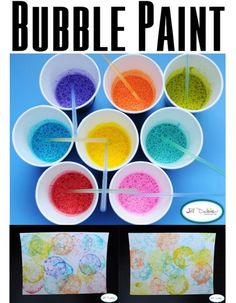Bubble paint - a little paint, detergent and water in each cup. Kids need to be old enough to only blow the paint through the straws, or do this step for them. Blow till the colour overflows and bubbles go onto the paper, then burst the bubbles on the paper. Warning fun but messy!!! http://m.meetthedubiens.com/7hk6mm1/articles/21344/bubble-painting
