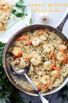 Garlic Butter Shrimp and Rice - Garlic Butter lends an amazing flavor to this speedy and incredibly delicious meal with Shrimp and Rice.