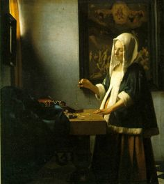Johannes Vermeer Woman Weighing Pearls, , National Gallery of Art, Washington. Read more about the symbolism and interpretation of Woman Weighing Pearls by Johannes Vermeer. Johannes Vermeer, Delft, Google Art Project, National Gallery Of Art, Art Gallery, National Art, National Museum, Vermeer Paintings, Art History