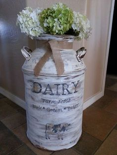 Farmhouse decor, milk jug, dairy milk jug, flowers, vase, hydreaneas, flowers, floral arrangement, Home decor, letter decor, home, wall decor, basket, DIY decor, vase, pictures, modern, modern country, modern farmhouse, farmhouse, rustic, living room, d