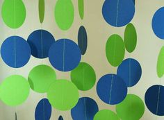 Birthday Party Decoration, Paper Garland, Blue & Lime Green, Seattle Football Decor, 10 ft. long on Etsy, $10.00