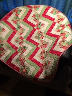 """Red, Green and Ultra Modern Are All Together In This 34"""" X 34"""" Wonky Stair Block Quilt"""