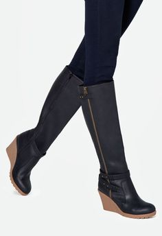 Replace your summer wedge sandals with this tall wedge boot. Featuring a standout, contrasting wedge silhouette and buckle details, this boot is great for upping your laid-back looks....